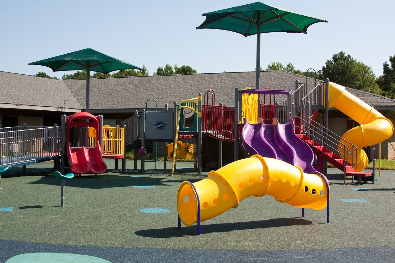 playground, swing, slide